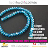6x8mm Clear Blue Faceted Flat Glass Crystal Beads