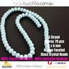 6x8mm Light Matte Blue Faceted Flat Glass Crystal Beads