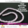 6x8mm Light Matte Pink Faceted Flat Glass Crystal Beads