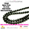 8x10mm Black Faceted Flat Glass Crystal Beads