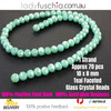 8x10mm Teal Faceted Flat Glass Crystal Beads