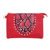 Red Gem Snake Skin With Diamond Clover Crossboday Bag B4669
