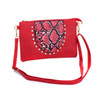 Red Gem Snake Skin With Diamond Clover Crossboday Bag B4669