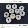 10X Silver Plated Diamond Spacer Beads