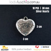 10PCs 30mm Silver Heart Shape Dangle Beads Craft Jewellery Bracelet Parts Charms
