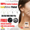 100Pcs Gold Plated  Earring Hooks, Bulk Packs, FREE Silicone Back