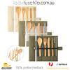 7Pcs Bamboo Cutlery Set - Roll Up White