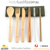 7Pcs Bamboo Cutlery Set - Roll Up Green