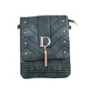 Dark Green D Design with Golden Stud Crossbody Bag