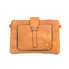 Brown Floral Embroided Stud with Clip Crossbody Bag