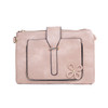 Pink Floral Embroided Stud with Clip Crossbody Bag