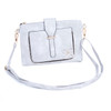 White Floral Embroided Stud with Clip Crossbody Bag