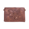 Brown Floral Embroided Crossbody Bag