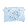 Blue Floral Embroided Crossbody Bag