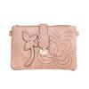 Beige Floral Embroided Golden Clip Crossbody Bag