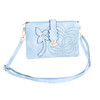 Blue Floral Embroided Golden Clip Crossbody Bag