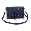 Black Golden Stud Symmetric with Tassel Crossbody Bag