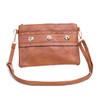 Caramel  Big Golden Stud Symmetric with Zip Crossbody Bag