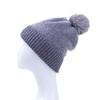 Grey Faux Fur Pom Winter Beanie Hat HATM237-3
