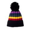 Black Faux Fur Pom Winter Beanie Hat HATM252-2