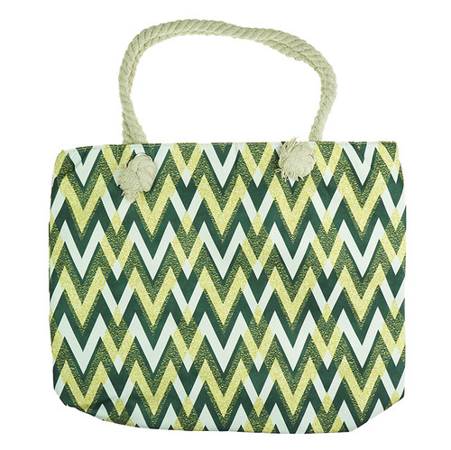 Yellow B&W Wave Print Shopping Bag