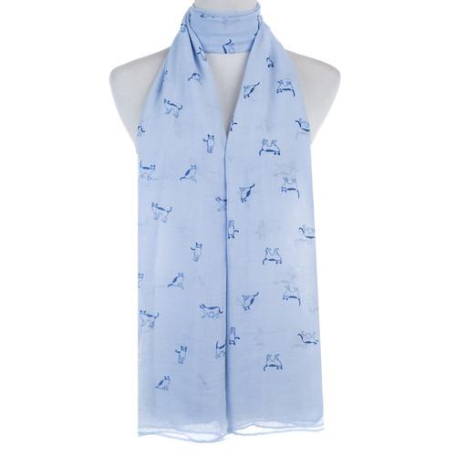 Blue Cat Animal Pattern Premium Scarf