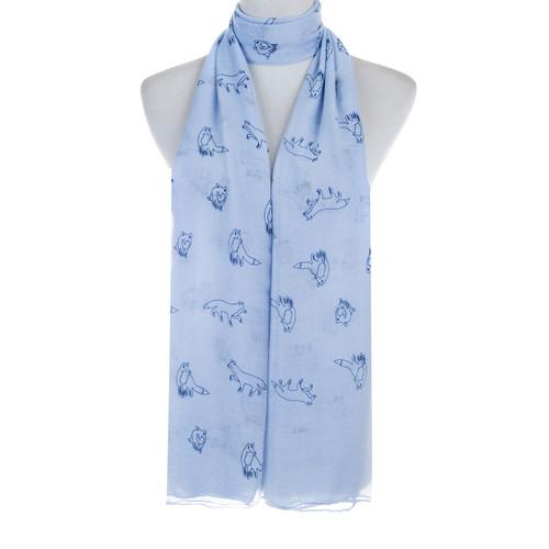 Blue Fox Animal Pattern Premium Scarf