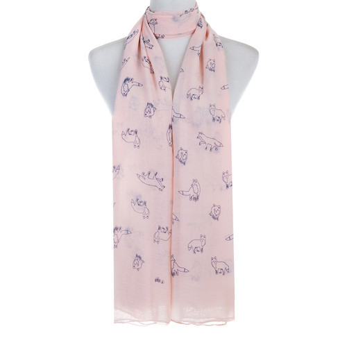 Pink Fox Animal Pattern Premium Scarf