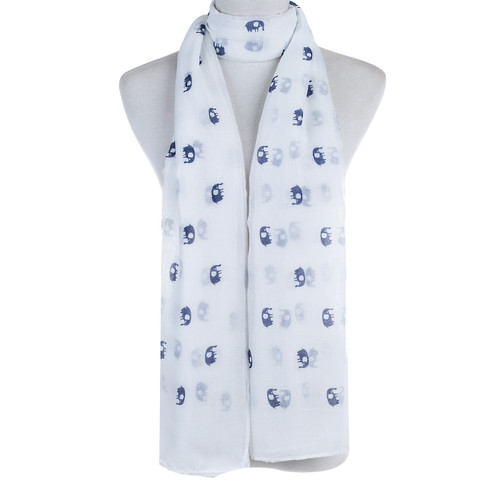 White Elephant Animal Pattern Premium Scarf