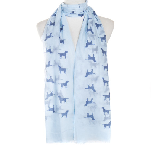 Blue Dog Animal Pattern Premium Scarf