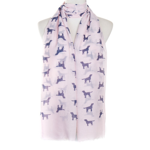 Pink Dog Animal Pattern Premium Scarf
