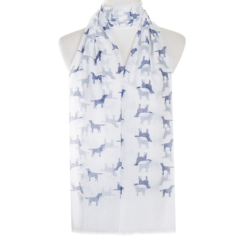 White Dog Animal Pattern Premium Scarf