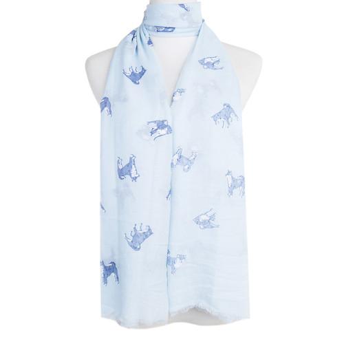 Blue Shiba Animal Pattern Premium Scarf