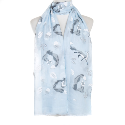 Blue Fox And Trees Animal Pattern Premium Scarf