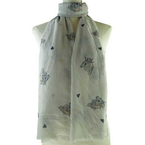 Grey Cute Unicorn Animal Pattern Premium Scarf