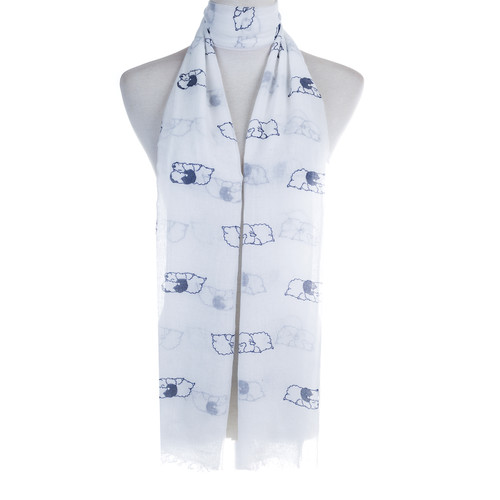 White Sleeping Sheep Animal Pattern High Quality Women Ladies Scarves