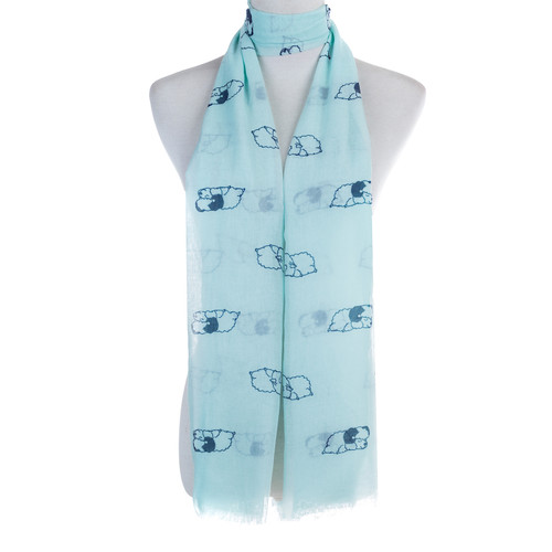 Blue Sleeping Sheep Animal Pattern High Quality Women Ladies Scarves