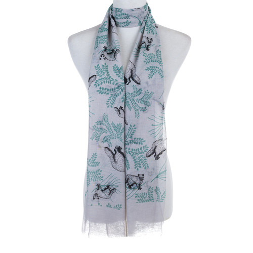 Grey Bear and Plant Pattern Animal Design Premium Women Ladies Scarves