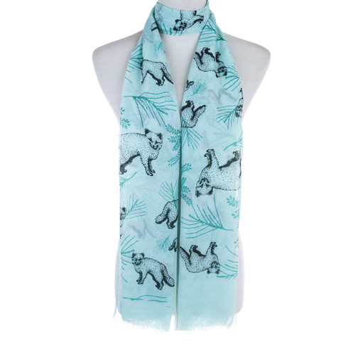 Blue Bear and Plant Pattern Animal Design Premium Women Ladies Scarves