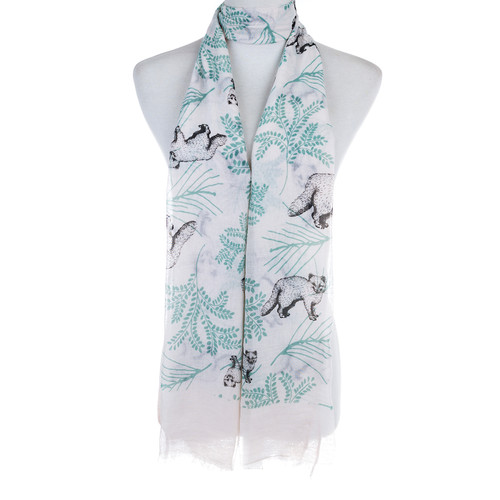 Pink Bear and Plant Pattern Animal Design Premium Women Ladies Scarves