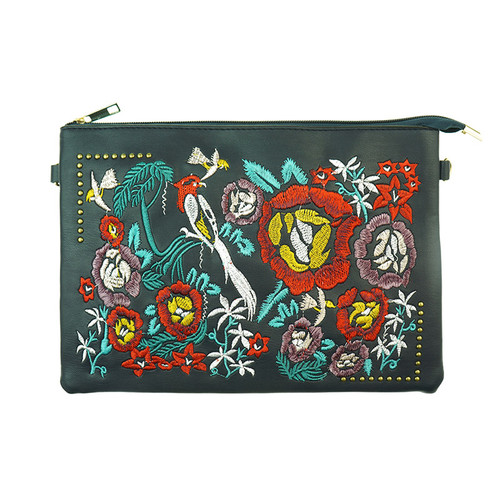 Navy Bohemian Floral Print Women Ladies Handbag
