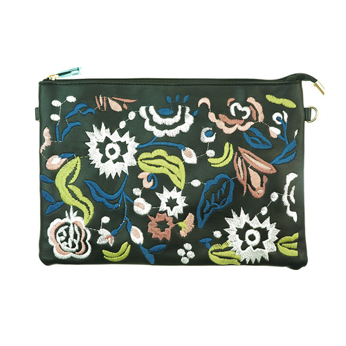 Black Bohemian Flower Print Women Ladies Handbag