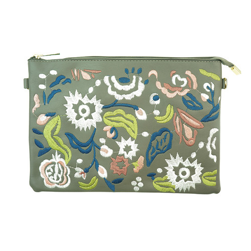 D Grey Bohemian Flower Print Women Ladies Handbag