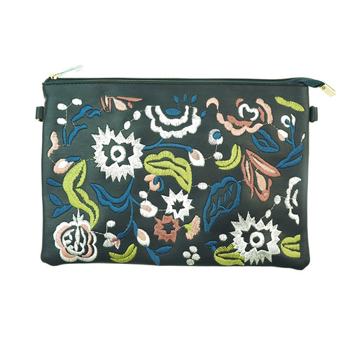 Navy Bohemian Flower Print Women Ladies Handbag