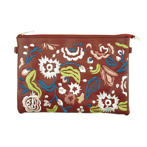 Wine Bohemian Flower Print Women Ladies Handbag