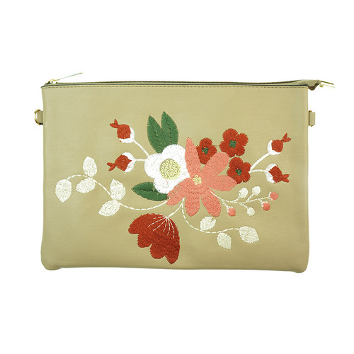 Beige Bohemian Flower Print Women Ladies Premium Handbag