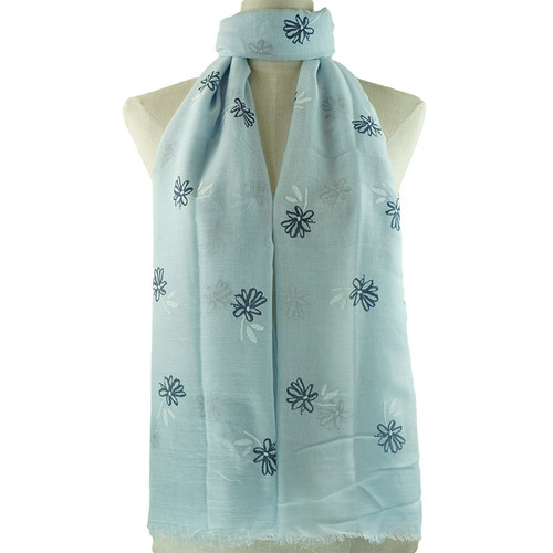 Blue Small Flower Pattern Scarf