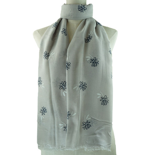 Grey Small Flower Pattern Scarf