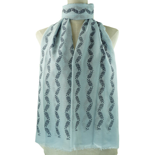 Blue Small Leaf Pattern All Season Scarf