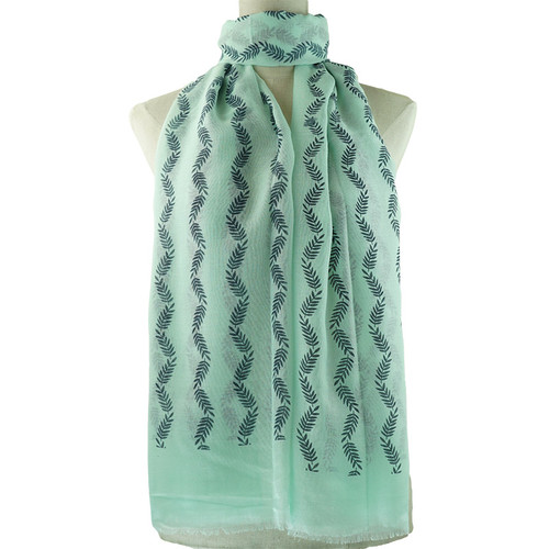 Teal Small Leaf Pattern All Season Scarf